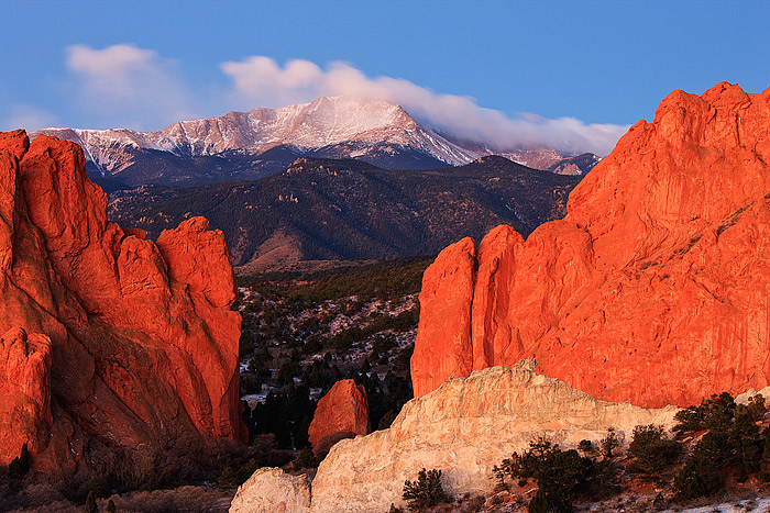 Pikes Peak And Gateway Rock from Garden of The Gods