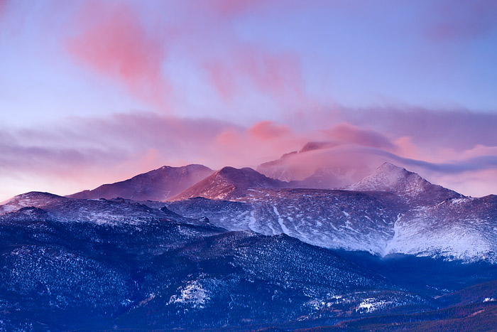 Windy Sunrise on 14,255 ft Longs Peak in Rocky Mountain National Park