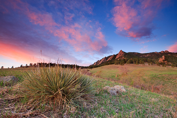 Sunrise on the Flatirons at Chautauqua Park in Boulder, Colorado