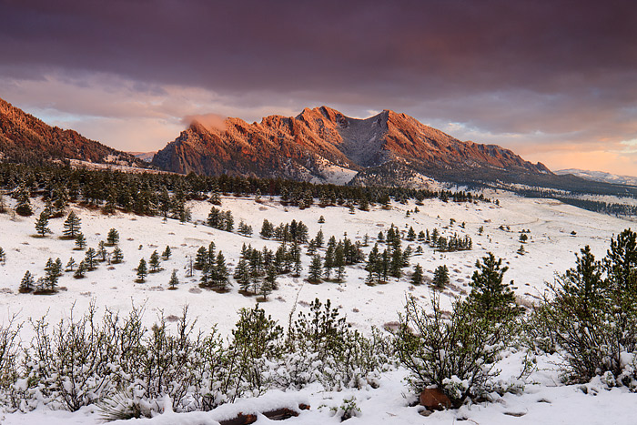 Fresh Snow coats the Flatirons of Boulder, Colorado