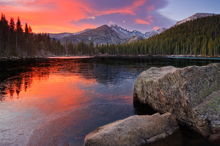 Sunrise over Longs Peak from Bear Lake, RMNP, Colorado