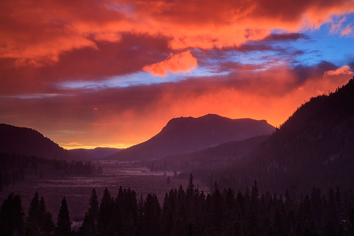 A beautiful sunrise over Horseshoe Park in Rocky Mountain National Park