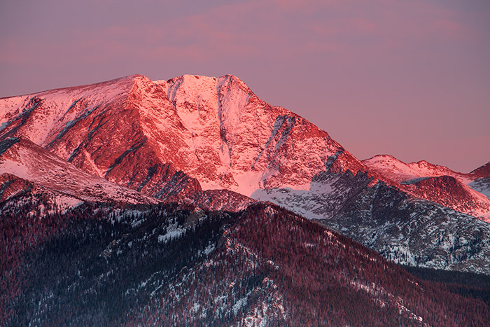 Sunrise over Mt. Yipsilon and Rocky Mountain National Park, Colorado
