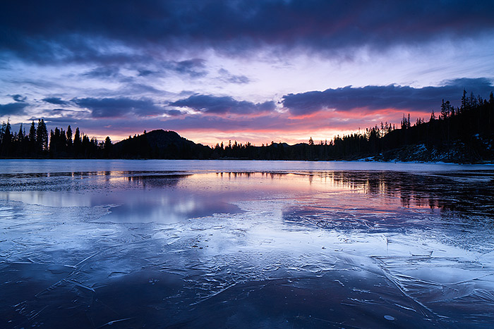 Sprague Lake reflects the steely blue colors of sunrise on its icy an thawing surface. Rocky Mountain National Park has been a personal photography project of mine or the last fourteen years. Projects, To-Do lists and staying in shape make it easier to take advantage of perfect conditions such as these. Technicial Details: Canon EOS 1Ds III, 24mm TS-E F3.5 L II