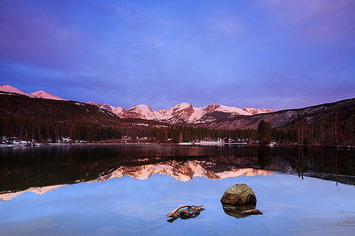 Sunrise illuminates Otis,Hallet and Flattop Mountain on a perfect spring morning in Rocky Mountain National Park. Sprague Lake has finally thawed and spring is finally making it's appearance in Rocky Mountain National Park. Technicial Details: Canon EOS 5D Mark III, 24mm TS-E f3.5 L II