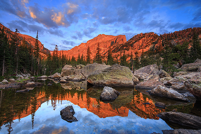 The past few weeks have been quite hectic in Estes Park and Rocky Mountain National Park after the historic flooding that hit the northern Front Range of Colorado. Things are rapidly getting back to normal and much of Estes Park and Rocky Mountain National Park are now open for business. Here's an image from Lake Haiyaha a few weeks prior to the flooding. Technical Details: Canon EOS 5D Mark III, 17mm TS-E F4 L