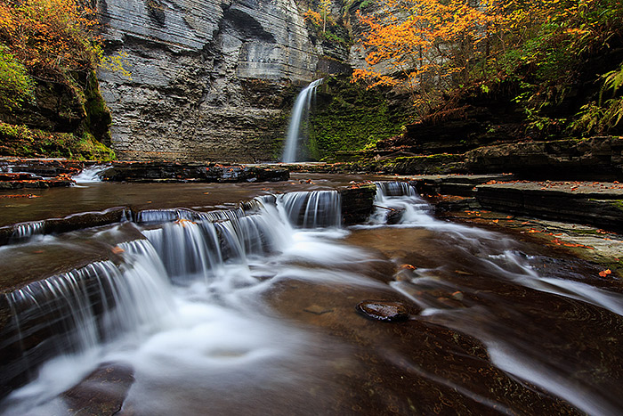 Beautiful Eagle Cliff Falls in Havana Glen cascades over the rocks and past some beautiful autumn colors. Havana Glen which is located in Montour Falls, New York is only a short distance from the more well known Watkins Glen, but equally as beautiful. Technical Details: Canon EOS 5D Mark III, 16-35mm F2.8 L II
