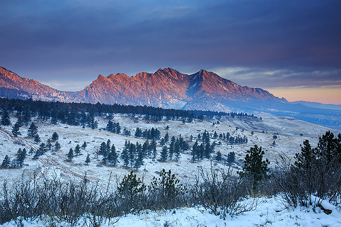 Moody blue light drapes the landscape of Boulder as sunrise sets the Flatirons ablaze in red. The lightshow this morning lasted only a few minutes, but its experiences and scenes like these that keep me out in the field early and often. Technical Details: Canon EOS 5D Mark III, 24-70mm F4 IS