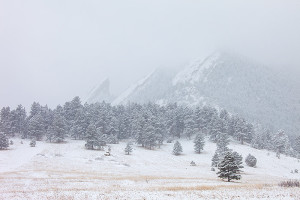 On my way up Flagstaff Mountain I made a stop at Chautauqua Park. In the fog and heavy snow the Flatirons looked pristine. Technical Details: Canon EOS 5D Mark II, 70-200mm F4 IS L