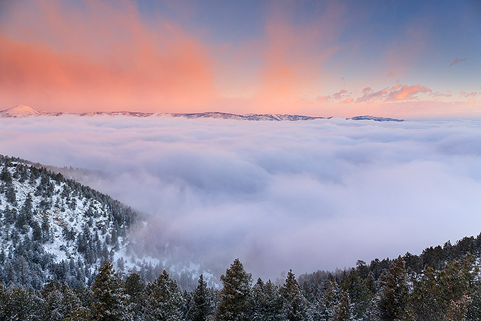 Weather plays of huge role in the success of your landscape photography. Unique conditions such as an inversion can take locations that normally my not be optimal for landscape photography, and instead transform the landscape into something magical. From near the top of Flagstaff Mountain, and low hanging inversion caused c cloud layer to form, thus filling Boulder Canyon and the area over Lost Gulch with clouds at sunrise. Technical Details: Canon EOS 1Ds Mark III, 24-70mm F4 IS L