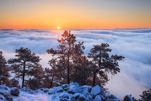 The clouds from the inversion rested just below the summit of Flagstaff mountain. Hiking to the summit allowed just enough altitude to get above the cloud line and photograph sunrise. Technical Details: Canon EOS 1Ds III, 24-70mm F4 IS L