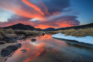 Sunrise looking to both east and west along the banks of the Big Thompson river was spectacular. Looking east towards Estes Park the sky was filled with red. Technical Details: Canon EOS 1Ds III, 17mm TS-E L