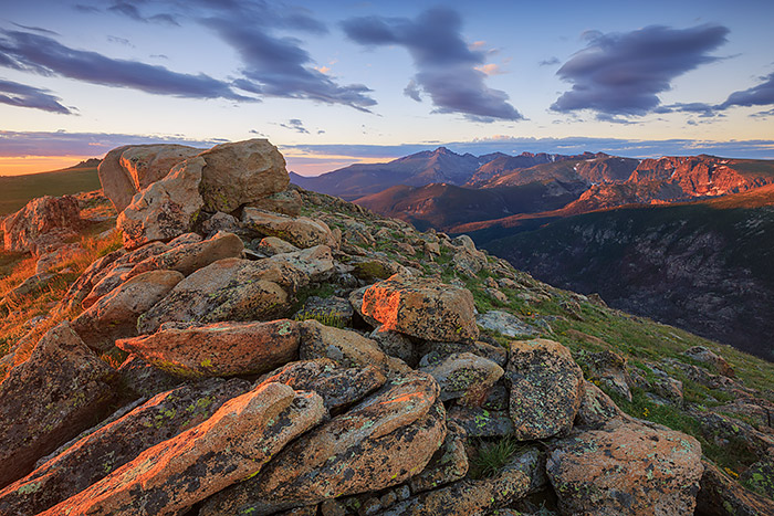 Sunrise over Longs Peak and Forest Canyon from the Ute Trail. Hiking away from Trail Ridge Road will give photographers some of the best views from the alpine tundra in Rocky Mountain National Park. Technical Details:  Canon EOS 5D Mark III, 16-35mm F4 IS L