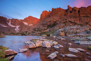 The consolation prize. Lake of Glass and Taylor Peak at sunrise. Technical Details: Canon EOS 5D Mark III, 16-35mm F4 IS L