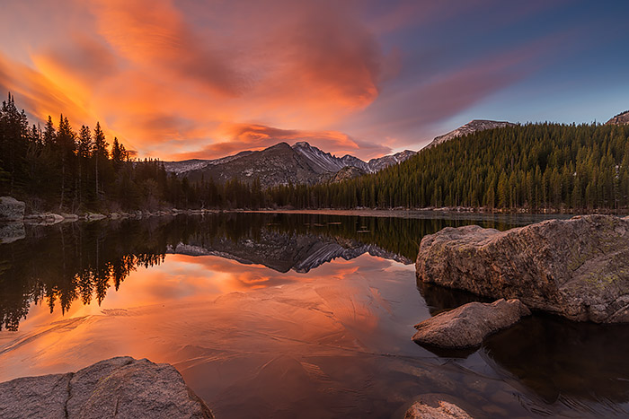 Not a bad way to start Halloween off. A beautiful sunrise unfolds over a partially frozen Bear Lake and Longs Peak this morning. This is the first morning I've been out in the field with my Nikon D810. I'm looking forward to test driving the D810 on many more mornings but so far I'm very pleased with the results. Technical Details: Nikon D810, Nikkor 18-35mm F3.5-4.5 ED AF