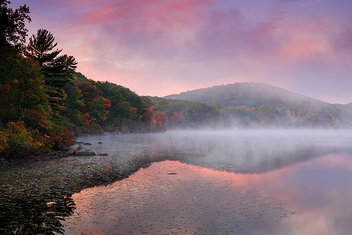 A beautiful sunrise unfolds over Harriman State Park. Harriman is located just north of New York City but plays host to some of the best fall color in all of New York State each year. This makes Harriman State Park a popular destination for many photographers from the Tri-State area. Technical Details: Canon EOS 5D Mark III, 24-70mm F4 IS L
