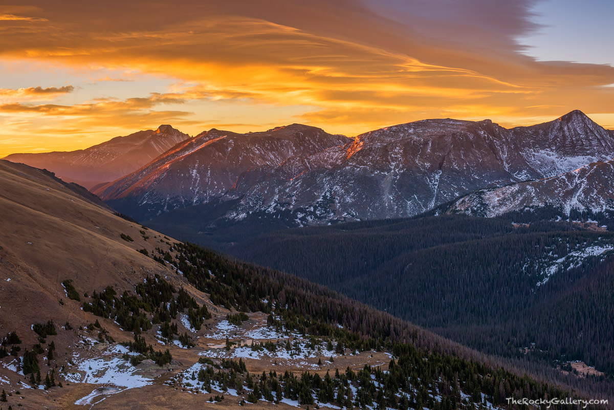 It's that time of year again in Rocky Mountain National  Park. Known as the 'shoulder season' the period between fall and winter is often ignored by photographers. With our mild autumn its still a great time to get out and photograph Rocky Mountain National Park. I was able to photograph this sunrise from the Gore Range overlook along Trail Ridge Road on October 27th of this year. Last year at this time, Trail Ridge Road was closed and was already covered with a good amount of snow. Technical Details: Nikon D810, Nikkor 24-70mm F2.8 ED AF