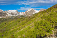 Otis Peak,Hallett Peak,Flattop Mountain,Bierstadt Moraine,Bierstadt Lake,Trailhead,Spring,Aspens,Green,Sunrise,RMNP,Colorado,Rocky Mountain National Park,Estes Park,Bear Lake Road,Landscape,Photograph