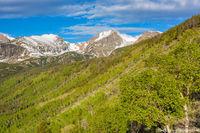 Otis Peak,Hallett Peak,Flattop Mountain,Bierstadt Moraine,Bierstadt Lake,Trailhead,Spring,Aspens,Green,Sunrise,RMNP,Colorado,Rocky Mountain National Park,Estes Park,Bear Lake Road,Landscape,Photograph