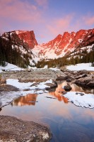 Rocky Mountain National Park, Colorado, Dream Lake, Hallet Peak, Flattop Mountain, Winter, Sunrise,