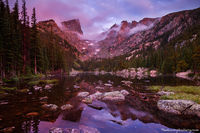 Rocky Mountain National Park, Colorado, Dream Lake, Sunrise, Fog, Hallet Peak, Flattop Mountain