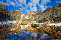 Rocky Mountain National Park, Colorado, Dream Lake, Hallett Peak, Front Range, Snow, Calm, reflection,landscape,photography,may,estes park,RMNP,Bear Lake Trailhead