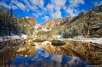 Rocky Mountain National Park, Colorado, Dream Lake, Hallett Peak, Front Range, Snow, Calm, reflection,landscape,photography,may,estes park,RMNP,Bear Lake Trailhead