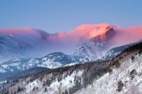 Rocky Mountain National Park, Colorado, Hallet Peak, Otis Peak, Sunrise, Winter, Bierstadt Moraine,