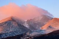 Longs Peak,Mount Meeker,winter,Rocky Mountain National Park,Colorado,sunrise