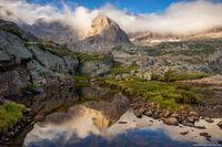 Glacier Gorge,Bear Lake Road,The Spearhead,Chiefs Head Peak,Blue Lake,Black Lake,Colorado,Sunrise,Landscape,Photography,Estes Park,Rocky Mountain National Park,RMNP,fog,climbers,Longs Peak