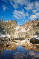 Rocky Mountain National Park, Dream Lake, Reflection, Colorado, Hallet Peak, Flattop Mountain, Snow