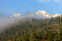 Longs Peak,The Diamond,Fog,Lower Beaver Meadows,Rocky Mountain National Park,Colorado,Spring