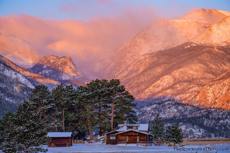 Moraine Park,Cabins,Steads Ranch,Bear Lake Road,Snow,October,Hand of Man,Landscape,Photography,Estes Park,Rocky Mountain National Park,Colorado,RMNP,Sunrise,Big Thompson River,Stones Peak