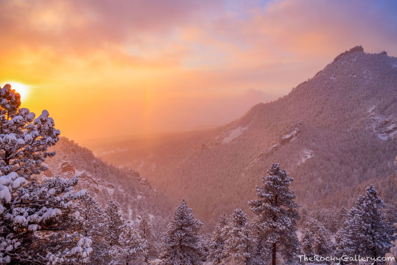 Sundog,Boulder,Flatirons,Sunrise,Flagstaff Mountain,Landscape,Photography,Open Space and Mountain Parks,OSMP,Colorado,March,Gregory Canyon