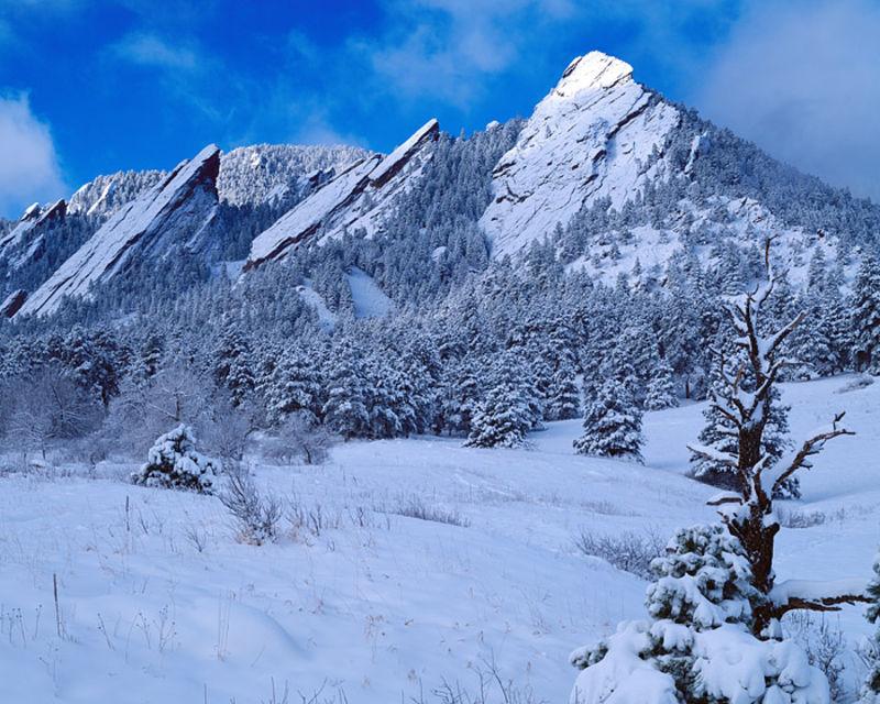 Snow on the Flatirons