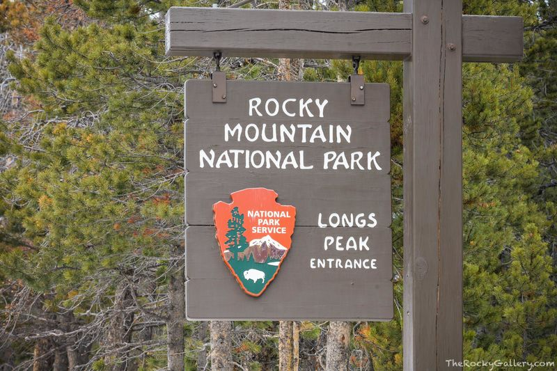 Longs Peak Entrance,Longs Peak,14,259ft,RMNP,Colorado,Estes Park,Rocky Mountain National Park,Entry,Sign,Hand of Man,January,Highway 7,Tahosa Valley,Boulder County,Larimer County,campground