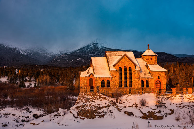 Camp St. Malo,Saint Catherines On The Rock,Chapel,Christmas Eve,Mount Meeker,RMNP,Colorado,Sunrise,December,Snow,Rocky Mountain National Park,Allenspark,Estes Park,Highway 7,Tahosa Valley,Peak to Peak