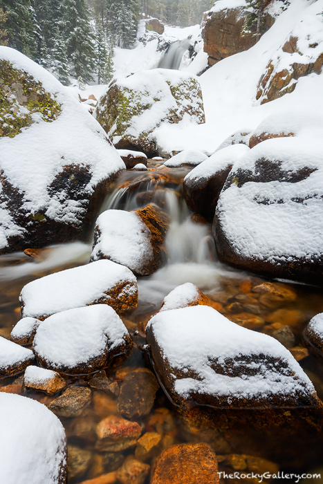 Alberta Falls,Waterfalls,Landscape,Photography,Abner Sprague,RMNP,Rocky Mountain National Park,Colorado,Loch Vale,Glacier Gorge,Trailhead,Glacier Creek,Snow,Winter,Spring,April, photo