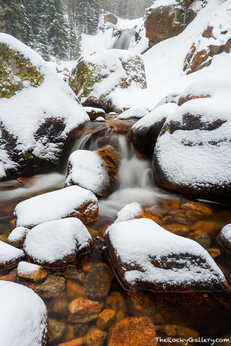 Alberta Falls,Waterfalls,Landscape,Photography,Abner Sprague,RMNP,Rocky Mountain National Park,Colorado,Loch Vale,Glacier Gorge,Trailhead,Glacier Creek,Snow,Winter,Spring,April, photo
