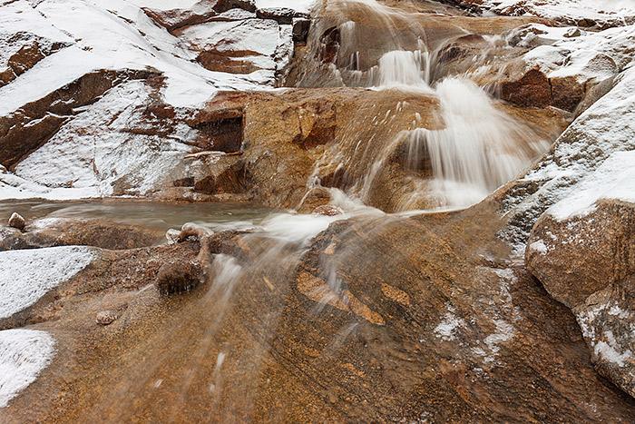 Alluvial Fan Falls,Horseshoe Park,Estes Park,Rocky Mountain National Park,Colorado,Waterfalls,Roaring River,spring,snow, photo