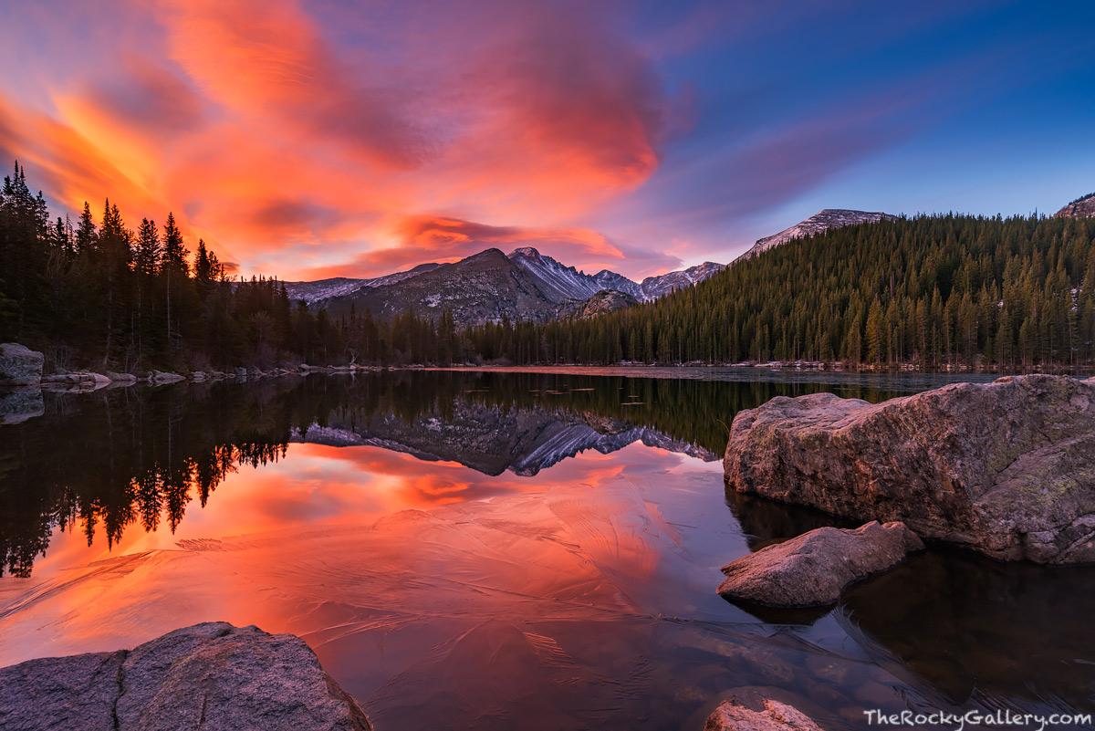 Bear Lake,RMNP,Estes Park,Colorado,Trailhead,Dream Lake,Longs Peak,October,Sunrise,Snow,Ice,Landscape,Photography