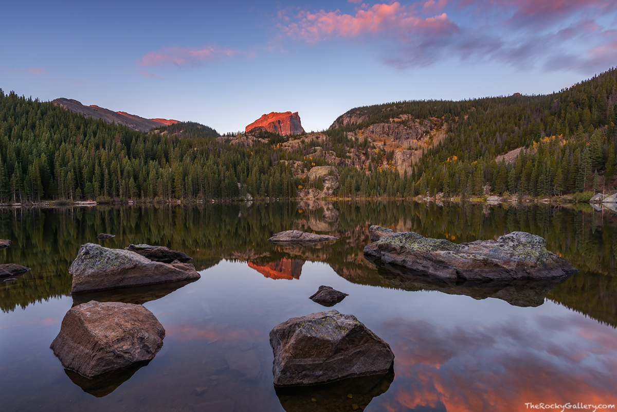 Bear Lake,Sunrise,Landscape,Photography,Bear Lake Road,Trailhead,Estes Park,RMNP,Rocky Mountain National Park,Colorado,Reflections,Smooth,Hallett Peak,October, photo