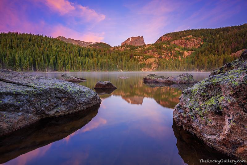 Bear Lake,Estes Park,Rocky Mountain National Park,Colorado,Hallet Peak,Sunrise,Reflections,hiking,photography,landscape, photo