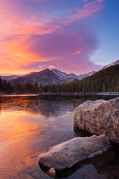 Bear Lake,Rocky Mountain National Park,Longs Peak,Colorado,ice,sunrise,clouds, photo