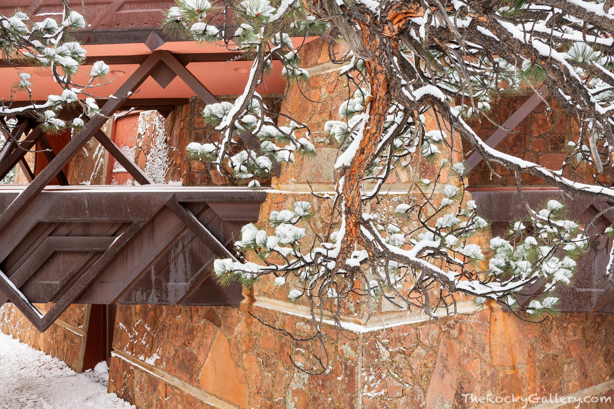 Frank Lloyd Wright,Taliesin Associated Architects,Beaver Meadows Visitor Center,RMNP,Rocky Mountain National Park,Colorado,NPS,National Park Service,Estes Park,Trail Ridge Road,Entrance,Snow,Winter,Ap, photo