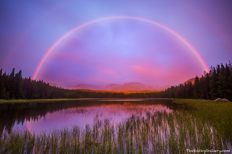 Bierstadt Lake,Rocky Mountain National Park,Colorado,Rainbow,Sunrise,Reflection,Estes Park,RMNP,Bear Lake,Albert Bierstadt,Hallett Peak,Flattop Mountain , photo