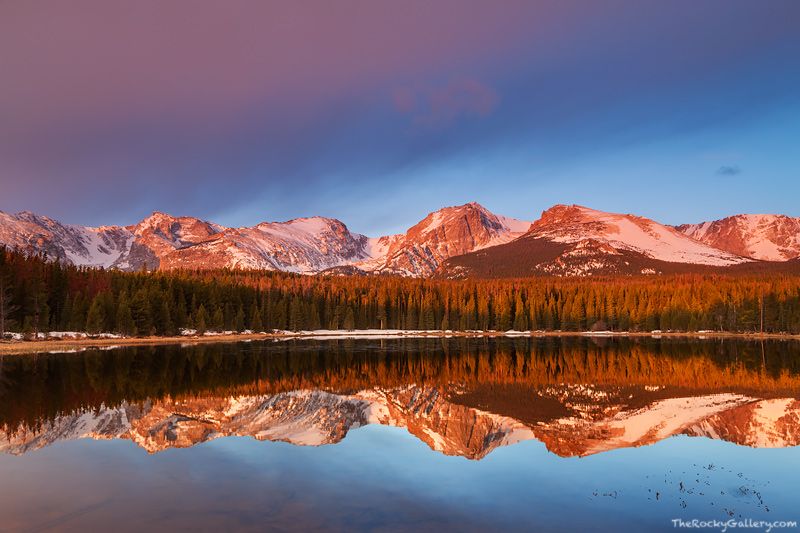 Rocky Mountain National Park, Colorado, Bierstadt Lake, Albert Bierstadt, Sunrise, American West, Hallett Peak,Flattop Mountain,Otis Peak,Notchtop Mountain,Estes Park,RMNP,Bear Lake Road,Trailhead,Ref, photo