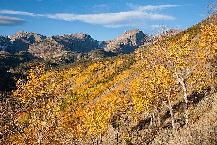 Rocky Mountain National Park, Colorado, Aspens, Autumn, Hallet Peak, Bierdstadt Moraine, photo