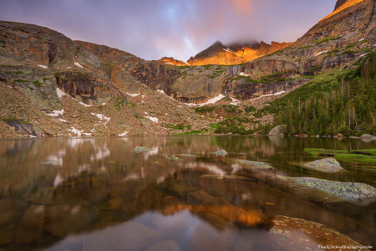 Black Lake,RMNP,Glacier Gorge,Trailhead,Bear Lake Road,McHenry's Peak,Rocky Mountain National Park,Colorado,Estes Park,Landscape,Photography,reflection,sunrise,clouds, photo
