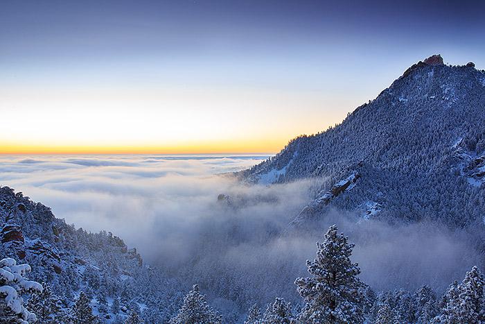 Boulder,Open Space,Flatirons,Sunrise,snow,flagstaff mountain,Colorado,winter,inversion , photo